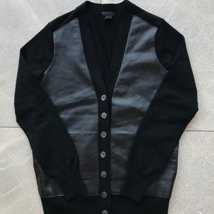 J Crew Collection Leather cardigan